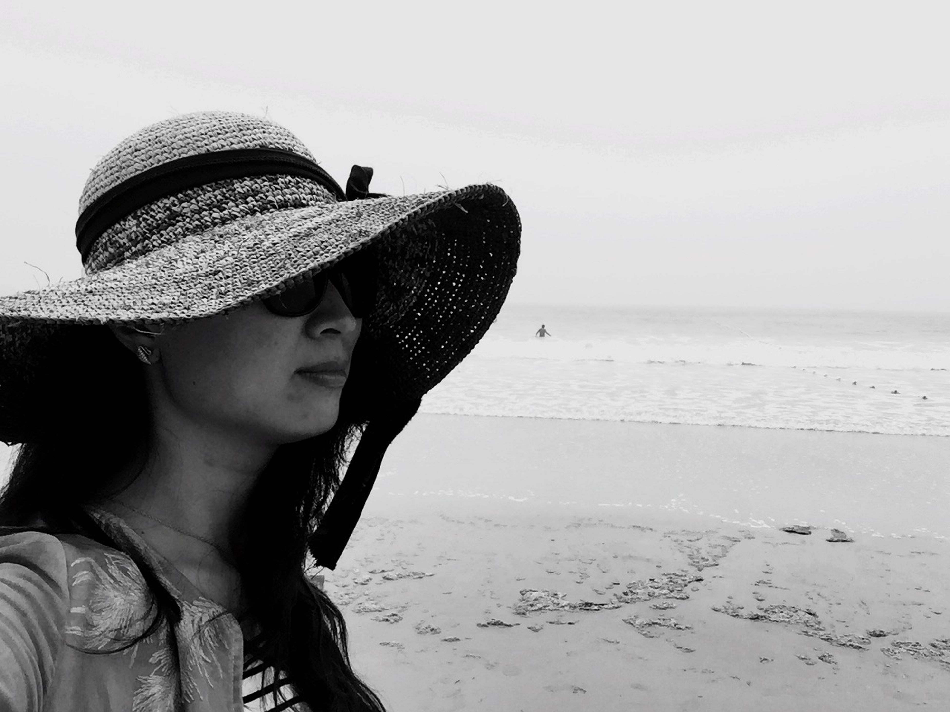 lifestyles, leisure activity, person, young adult, clear sky, headshot, casual clothing, beach, sea, hat, young women, water, side view, copy space, looking away, smiling, mid adult, sunglasses