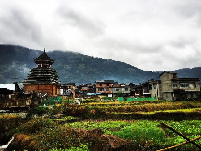 Bell Tower in dong village. Bell Tower Dong Villages Dong Minority's Rice Field
