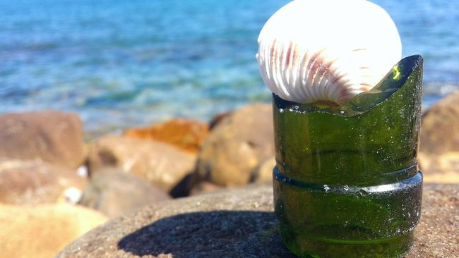 Shell Broken Glass Broken Bottle Ocean View Rocky Beach Blue Wave Photoart Nature And Manmade One Mans Trash Is Another Mans Treasure Peaceful Tranquility