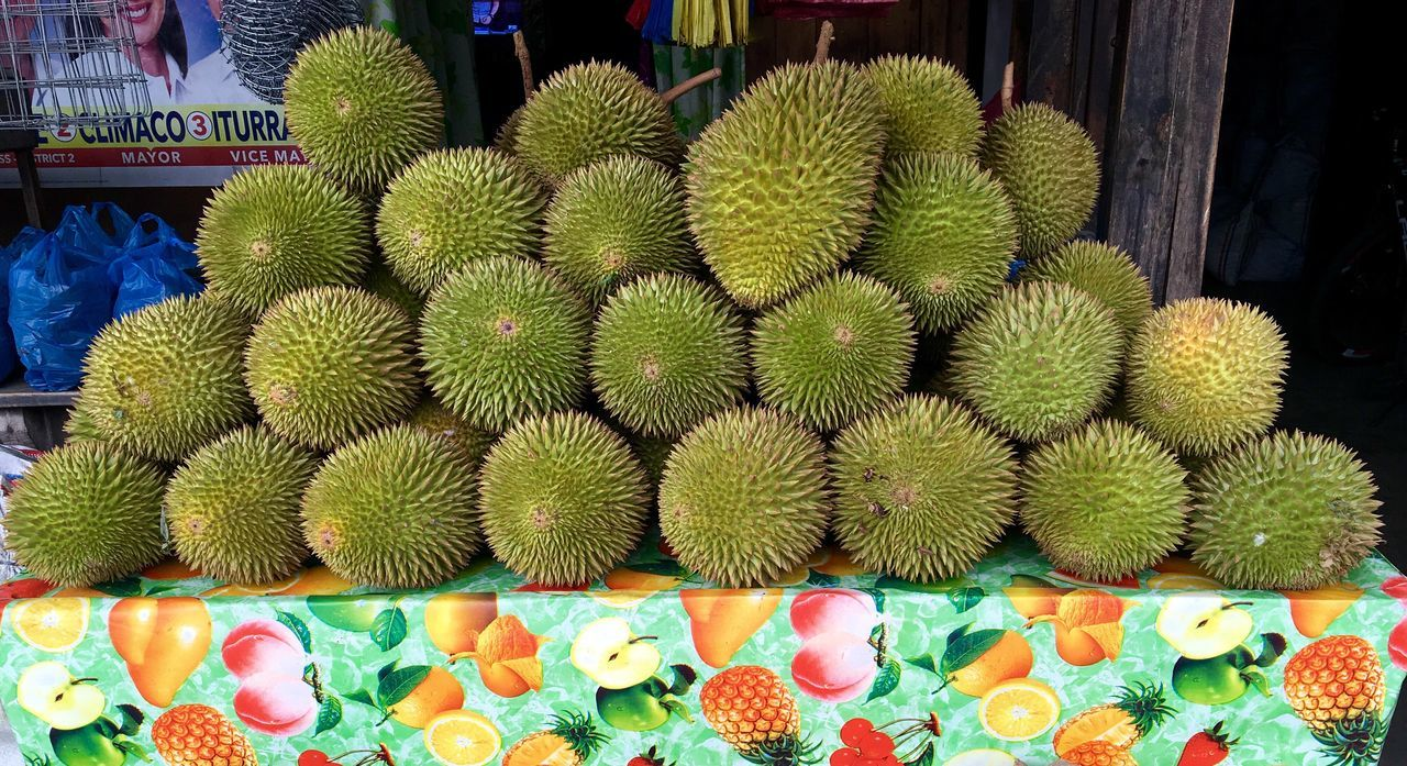 Durians, the king of fruits, are displayed for sale at a stall in Zamboanga City in southern Philippines. Spiky Fruits Durio Zibethinus King Of Fruits Spikes Fruit Photography Fruits Philippines Zamboanga Durians Shop Durian Fruit Durian Smelly Fruit Aromatic Fruit Pungent Live Love Shop