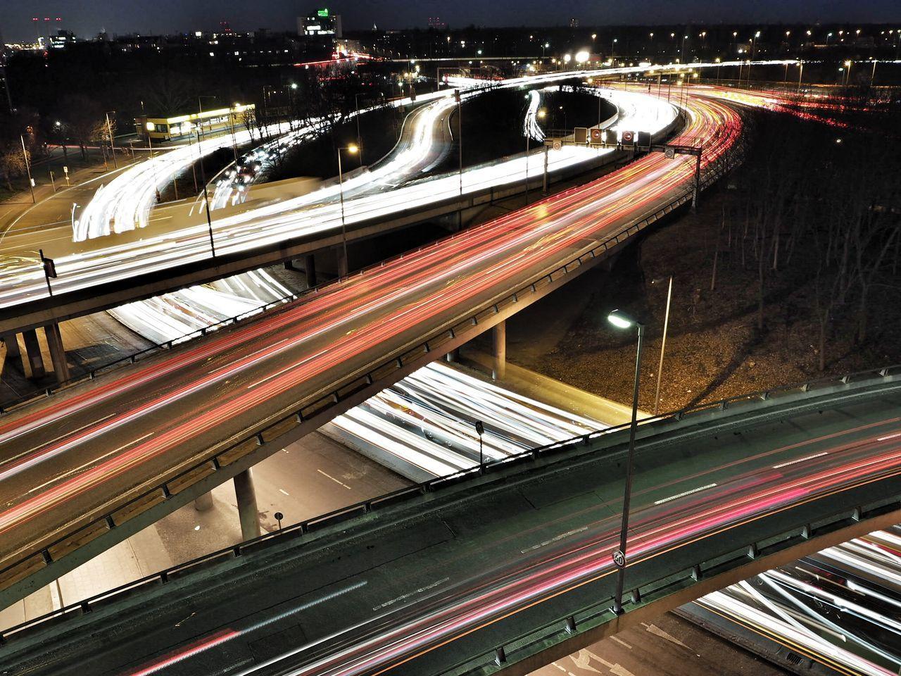 Flowing like a river - Autobahn in Berlin Transportation High Angle View Night Traffic Illuminated City Outdoors Cars Motorway Crossing Highway Loop Lightflow Longexposure Berlin ICC EyeEmNewHere