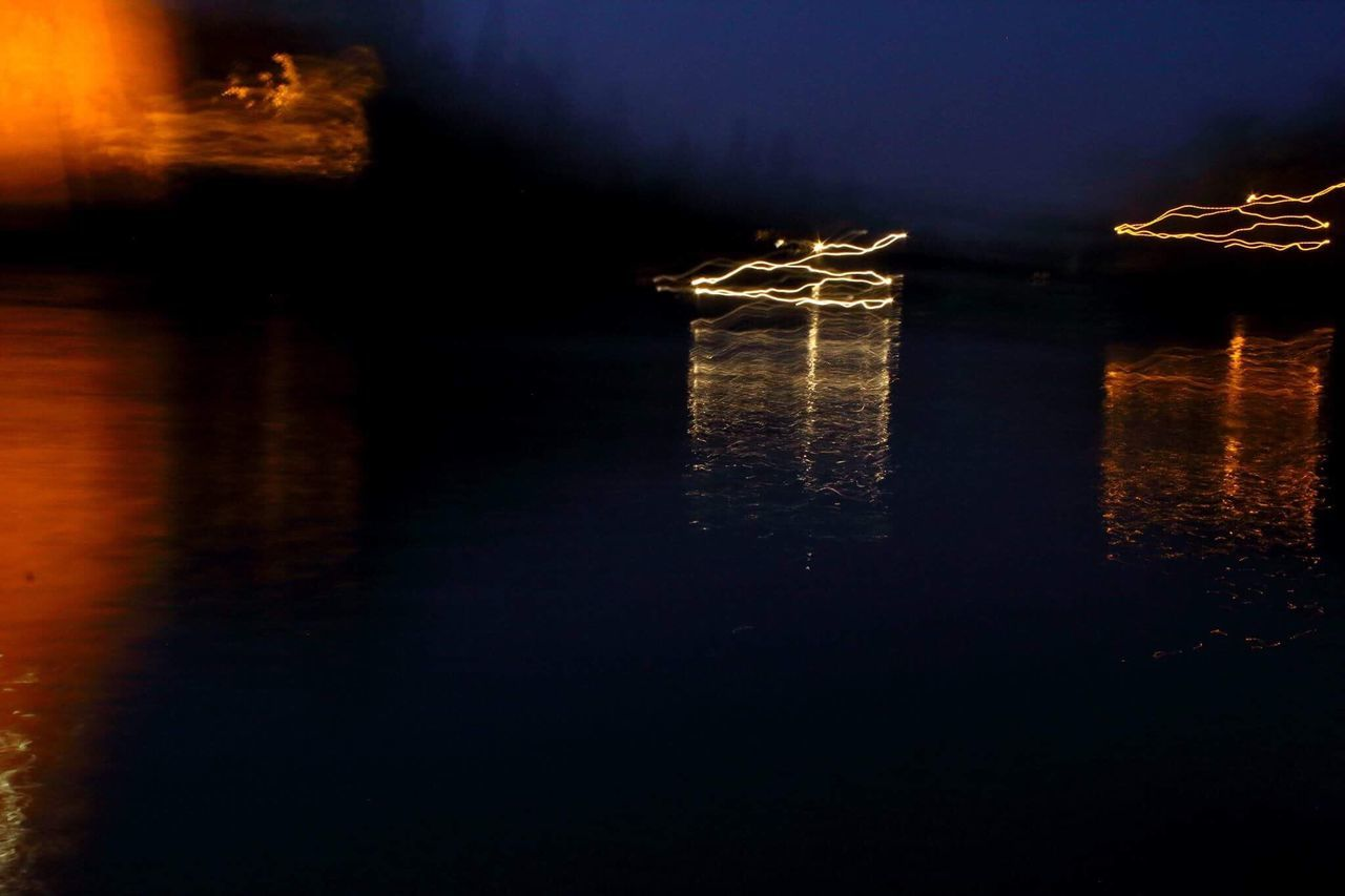 reflection, water, illuminated, night, waterfront, lake, no people, outdoors, tranquility, nature, beauty in nature