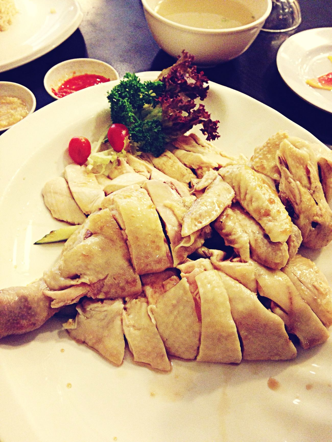 My welcome meal!!! Steamedchicken  Singaporefood
