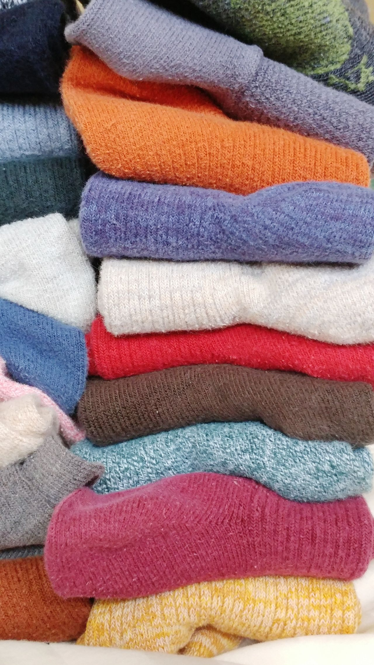 Stacks on stacks of socks. Multi Colored Stack No People Close-up Collections Organized Satisfying Underwear Shoot Clothing Textures And Colors Sun Bathing Rainbow Colors Warm Clothing Warm Cozy Socks Comfy  Backgrounds Style And Fashion