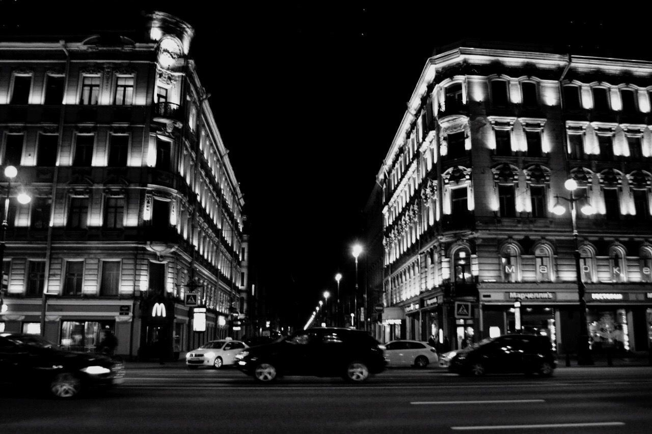 night, illuminated, building exterior, car, architecture, city, built structure, street, transportation, outdoors, road, no people, sky