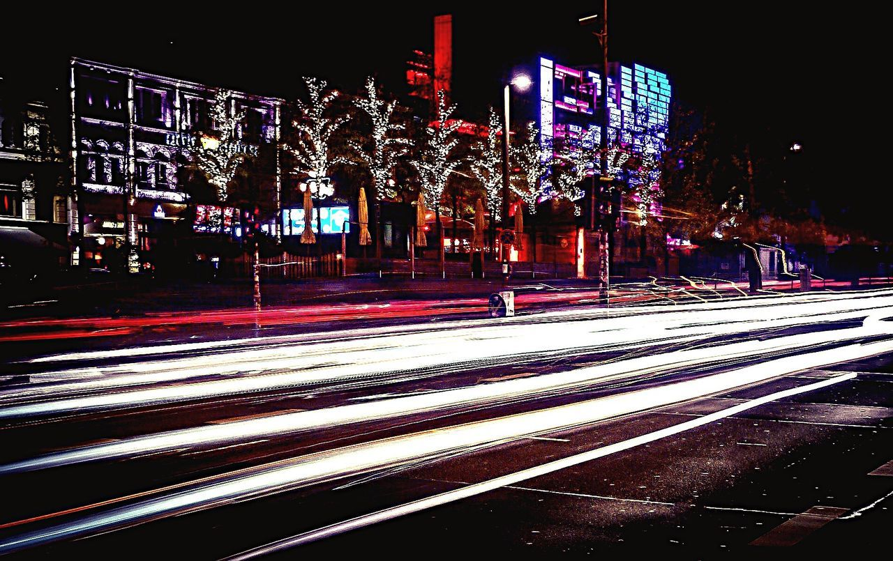 Night Illuminated Road Transportation Light Trail Street City Long Exposure Building Exterior Speed Built Structure Communication Architecture Outdoors City Life Lit Urban Scene Redlightdistrict Reeperbahn  St. Pauli