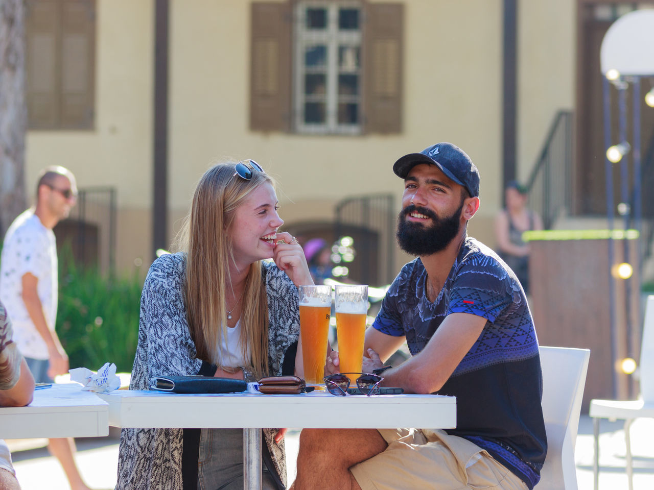 Beautiful stock photos of oktoberfest, young adult, young women, young men, table