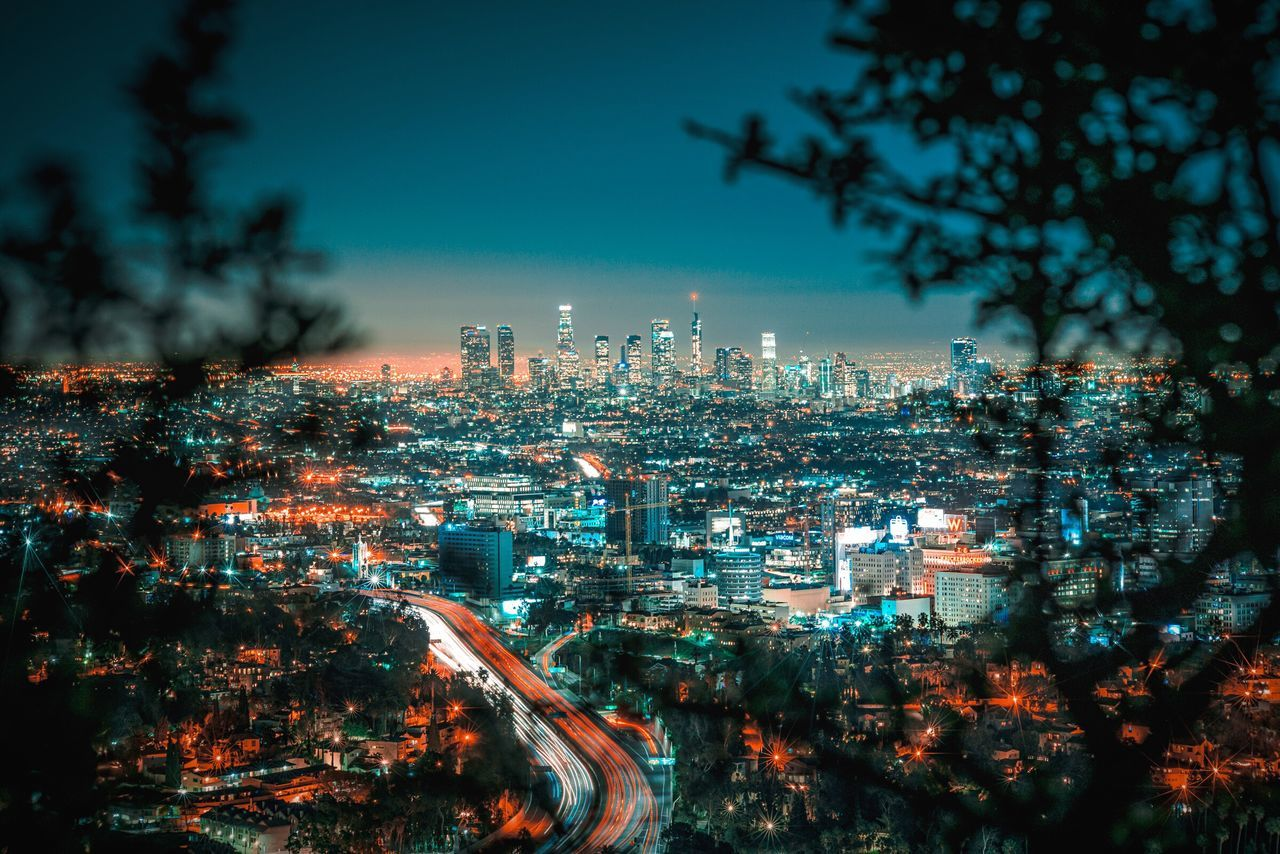 Different perspective DowntownLA DTLA Skyline Los Angeles, California Architecture Night Long Exposure Flying High