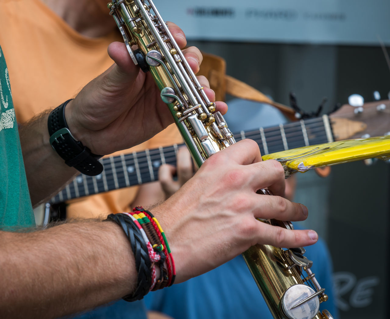 Arts Culture And Entertainment Body Part Close-up Focus On Foreground Human Body Part Human Hand Music Musical Instrument Musician Occupation Performance Playing Plucking An Instrument Practicing Saxophone Saxophonist Skill  TakeoverMusic