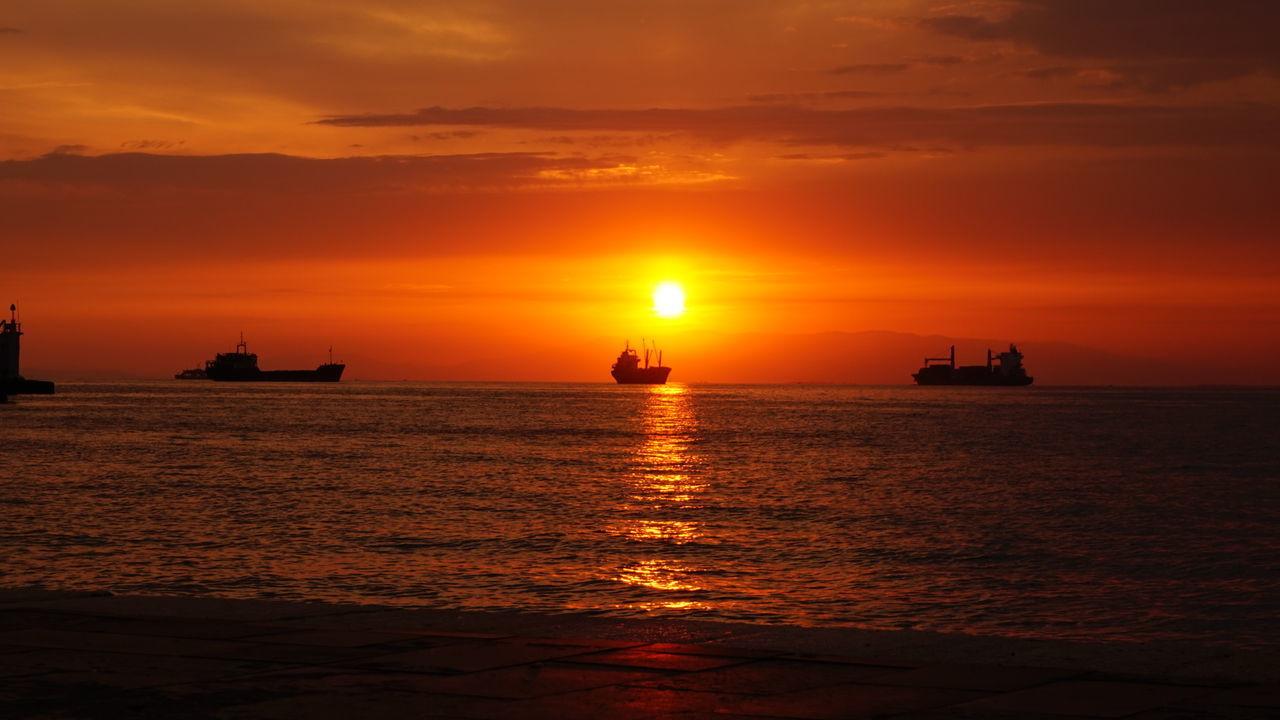 Izmir ❤ Konak Sunlight Nautical Vessel Sunset Sea Water Reflections Ciao A Tutti