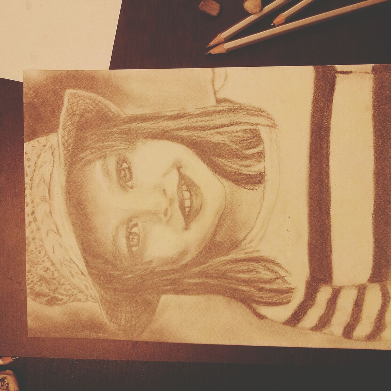 "First Eyeem Photo. My drawing ""Girl in the hat"")"