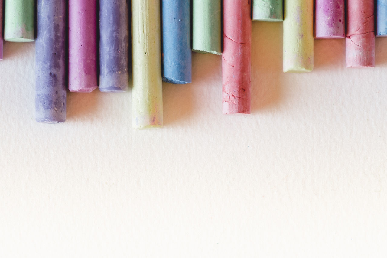 Abstract Art And Craft Art, Drawing, Creativity Background Backgrounds Close-up Color Palette Colorful Colors Copy Space Crayons Day Design Drawing Drawing - Art Product Drawingtime Education Indoors  Multi Colored No People Pencil Still Life Variation Vibrant Color White Background