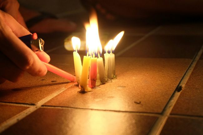 Playing with Candles during Midautumnfestival Singapore Candlelight Candlefun Fire