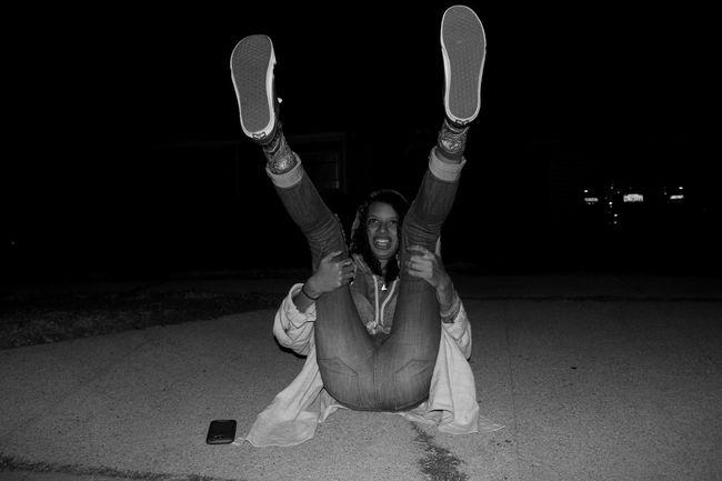 Wild Friend Night Photography Sidewalk Blackandwhite Long Legs Big Feet