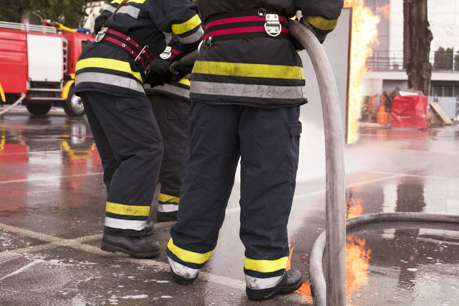 Fire department training Fire Service Blaze Destruction Emergency Fire Engine Firefighter Flame Spraying Burn Danger Emergency Services Occupation Fire Truck Firefighters In Action Fireman Heat - Temperature Hose Protective Workwear Safety Training