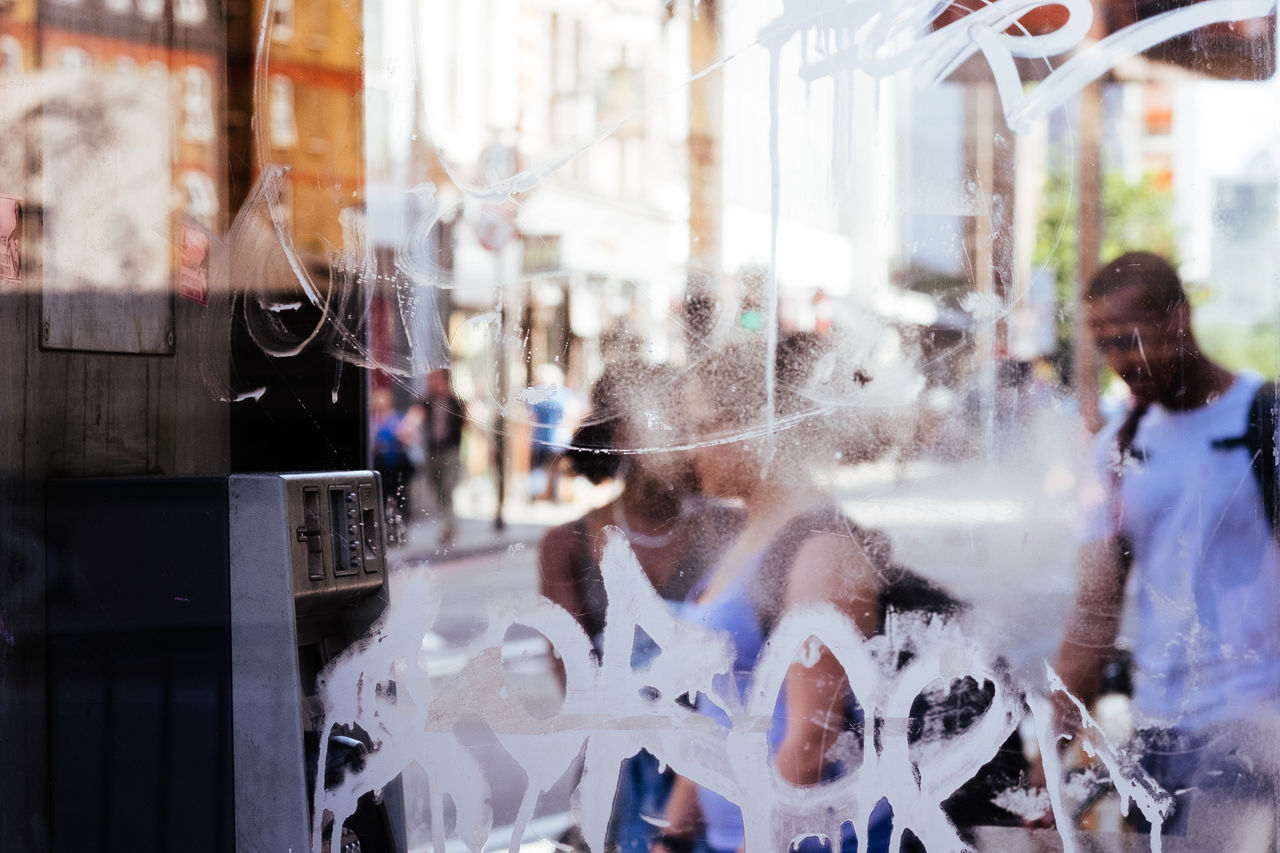 City Graffitti London Old Street Phone Phone Booth Street Photography Summer Through Urban Window