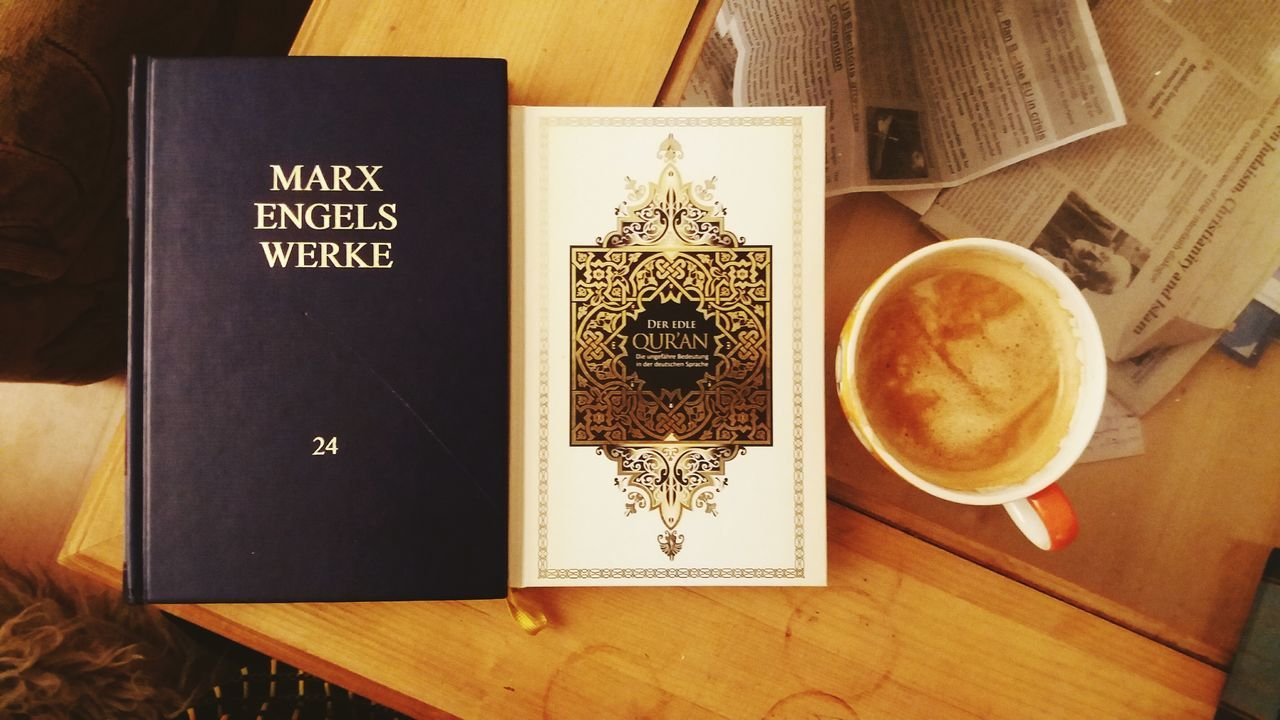 3 opiums for the masses Marx Marxism Quran Qur'an Coffee Morning Joke Religion Theory