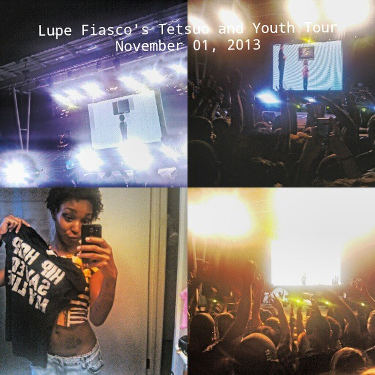 "I don't want to say this is a dream come true, but fuuck. I finally, finally, finally got to see Lupe Fiasco in concert. I feel like I'm past being a Lupe Fiasco fan. I'm not trying to be that dick that boasts about how long they've been listening to a particular artist .. but I've been rockin with this cat since 03, consistently .. I just feel and understand this nigga on so many levels. I remember listening to 'Hurt Me Soul' and 'HipHop Saved My Life' for the first times and deciding to have a personal relationship with music. Being able to rap every single word of 'Kick,Push' with Lupe was so awesome and amazing cause I just listen to that song on the regular degular so hearing and seeing it performed was unforgettable. If you were there .. there was a point where the whole audience was chanting ""hip hip, saved my life"", and it has, again and again. Everything just meant so much to me. If you were there, I was the one yelling ""I love you Lupe"", ""Do Kick Push"", and ""Freestyle! Freestyle!"" haha Fnf Lupefiasco Tetsuoandyouth Justthefreedom wasbetterthanbreathin"