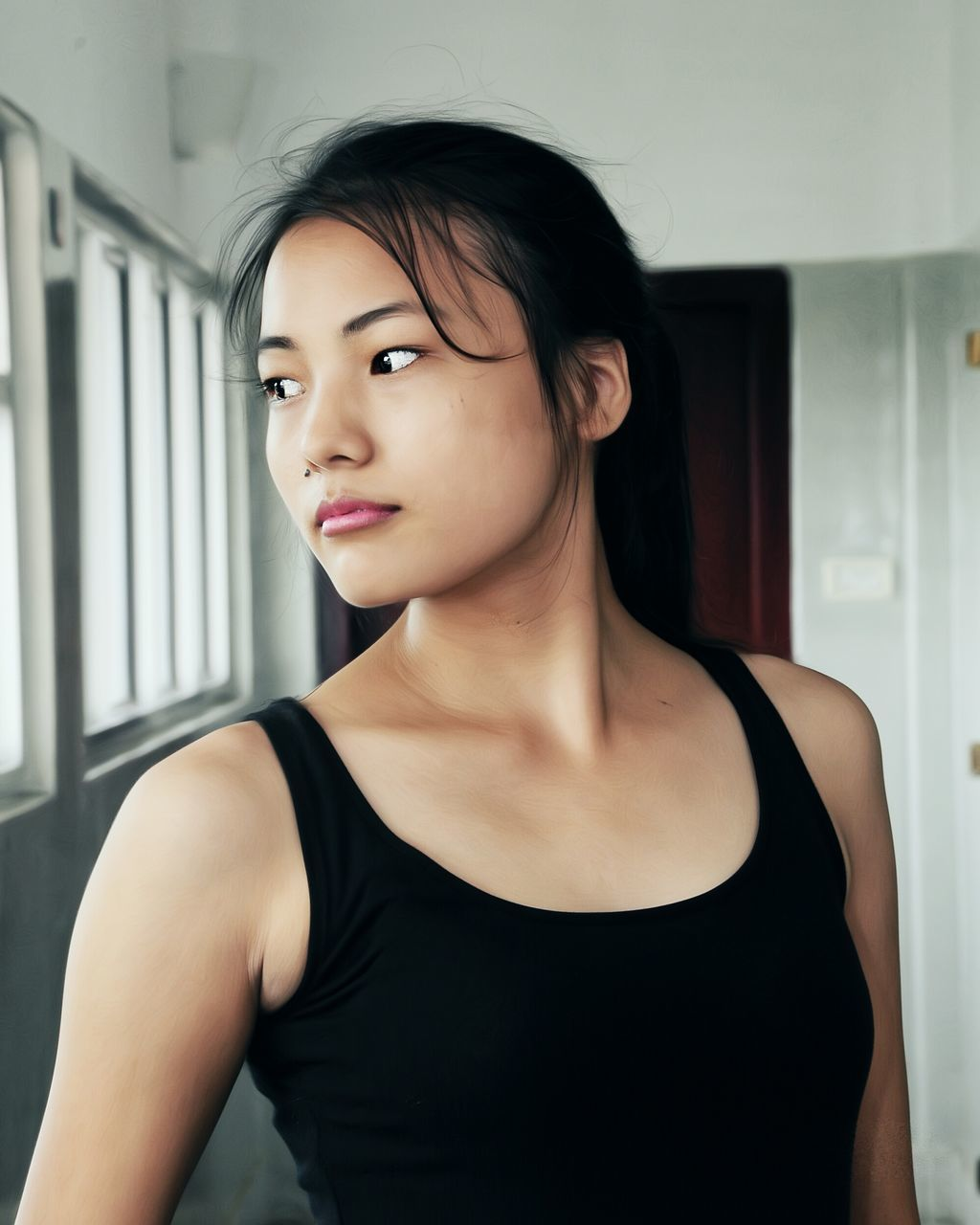 young adult, one person, real people, tank top, young women, beautiful woman, front view, lifestyles, indoors, fashion, headshot, close-up, standing, beauty, portrait, day