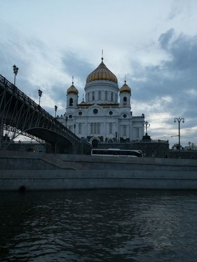 Dome Government Travel Destinations Architecture No People Water City Sky Evening Moscow Cathedral Christthesavior Moscow Cathedral Moscowriver Moscow River