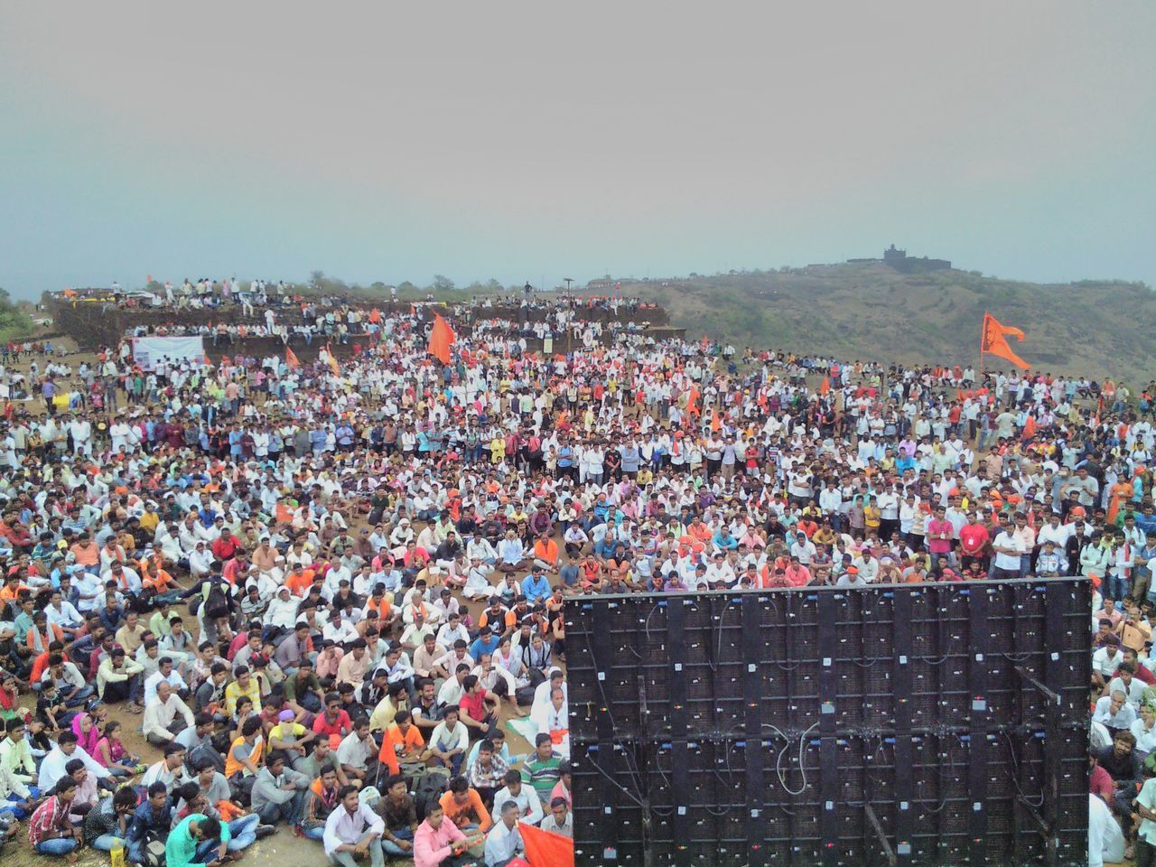 Crowded 6th June Maharashtra Shivaji Maharaj Shivrajyabhishekh Sohala Orange Flags Lifestyles Public Gathering Gathering Gather & Celebrate