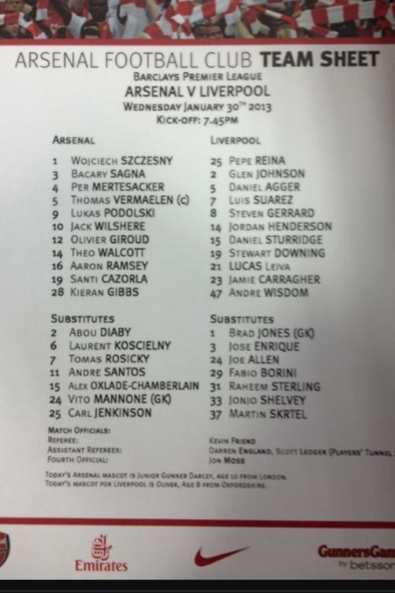 Arsenal Vs Liverpool Team Sheet