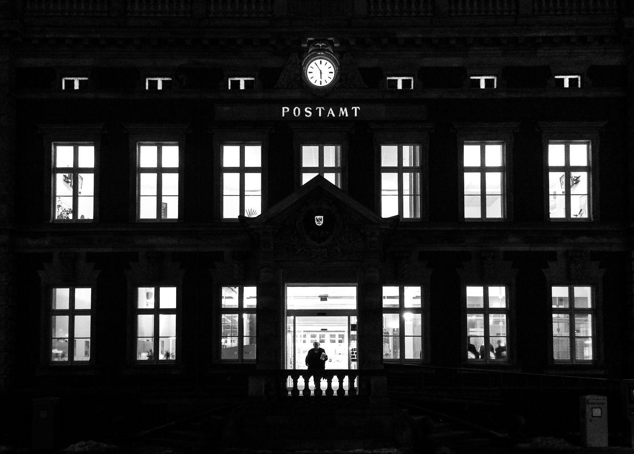 1755 Location: Postplatz Black & White Black And White Blackandwhite EyeEm Best Shots - Black + White Facade Building Monochrome Night Postoffice