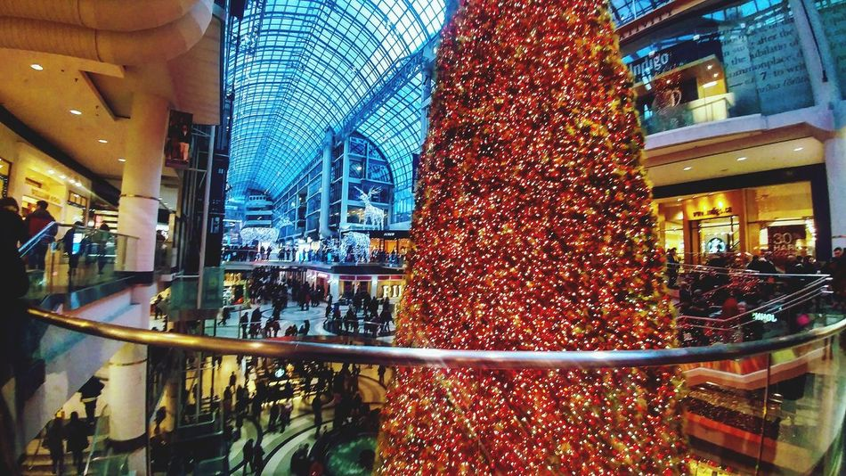 Visit to the Eaton Centre in Toronto on New Years Day!! 🎄🎆🎉🎊Christmas Lights Tree Eaton Centre Toronto NewYear Holidays💛 Beautiful Color Scenic Beauty Taking Photos Shopping Mall Christmas Crowd Mall Snaps Reindeer Green Red Yellow Huge!! Amazing First Visit Windows Pink
