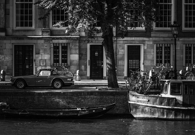 Transportation Architecture Building Exterior Built Structure City Car Boat Mode Of Transport Residential Building City Life Water Stationary Outside Amsterdam Street Photography Blackandwhite