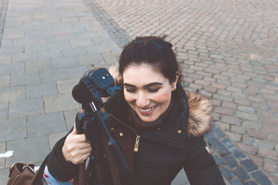 Adult Adults Only Beautiful People Beautiful Woman Beauty Camera - Photographic Equipment Day Fame Filming Home Video Camera One Person One Woman Only One Young Woman Only Only Women Outdoors People Photography Themes Portrait Real People Women Young Adult Young Women
