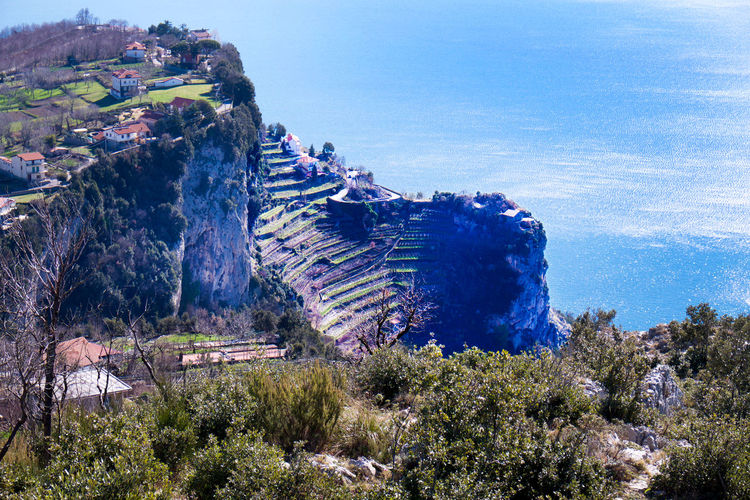 Amalfi  Amalfi Coast Beauty In Nature Cliff Top View Day EyeEm New Here Growth Italy Italy Holidays Landscape Mountain Nature No People Outdoors Rock - Object Scenics Sea Sky Steep Terraced Terraced Field Tree