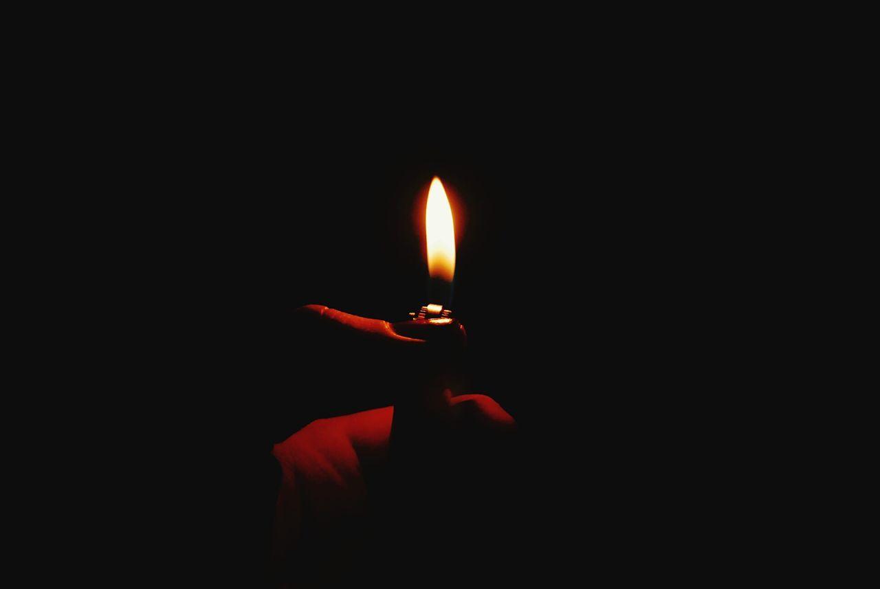 Flame Burning Glowing Illuminated Human Body Part Heat - Temperature Black Background Human Hand Night Indoors  Light Close-up Thumb Fingers
