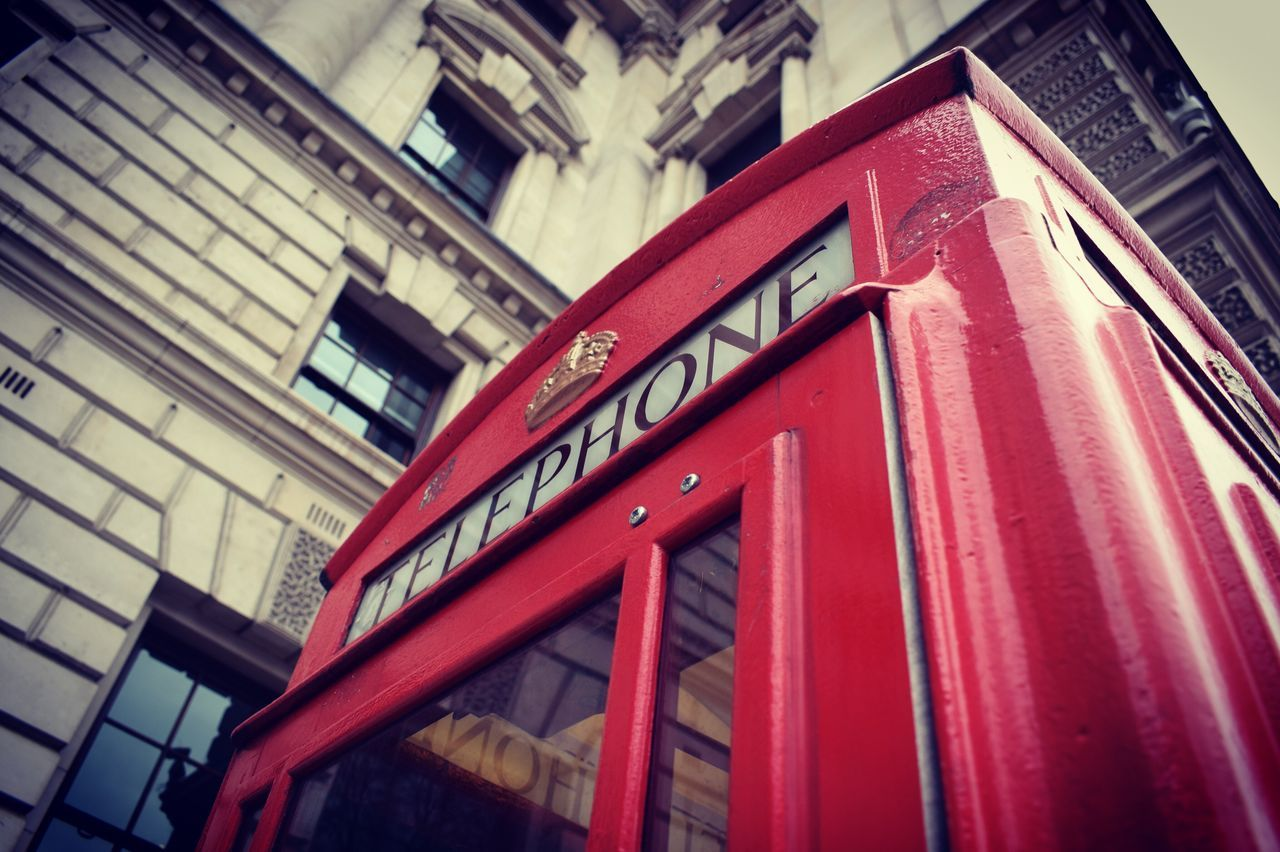 Red Telephone Booth Text Built Structure Architecture Communication No People Pay Phone Day Outdoors Building Exterior Adapted To The City