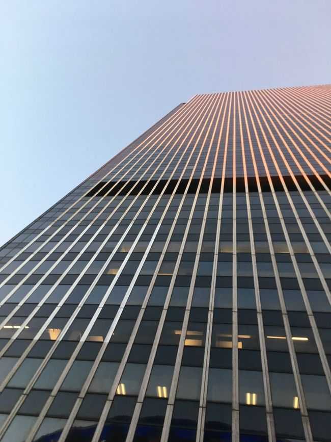 Architectural Feature Architecture Building Exterior Building Story Built Structure City City Life Clear Sky Day Development Diminishing Perspective Façade Geometric Shape Low Angle View Modern New York City No People Office Building Outdoors Repetition Sky Skyscraper Tall Tall - High Tower