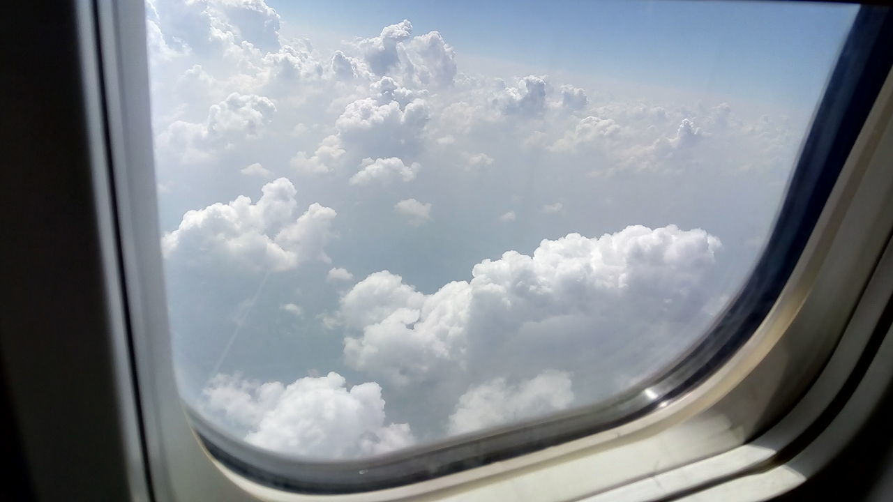 Window Sky Cloud - Sky Looking Through Window Airplane Transportation No People Day Indoors  Close-up Air Vehicle Water Flying High EyeEmNewHere