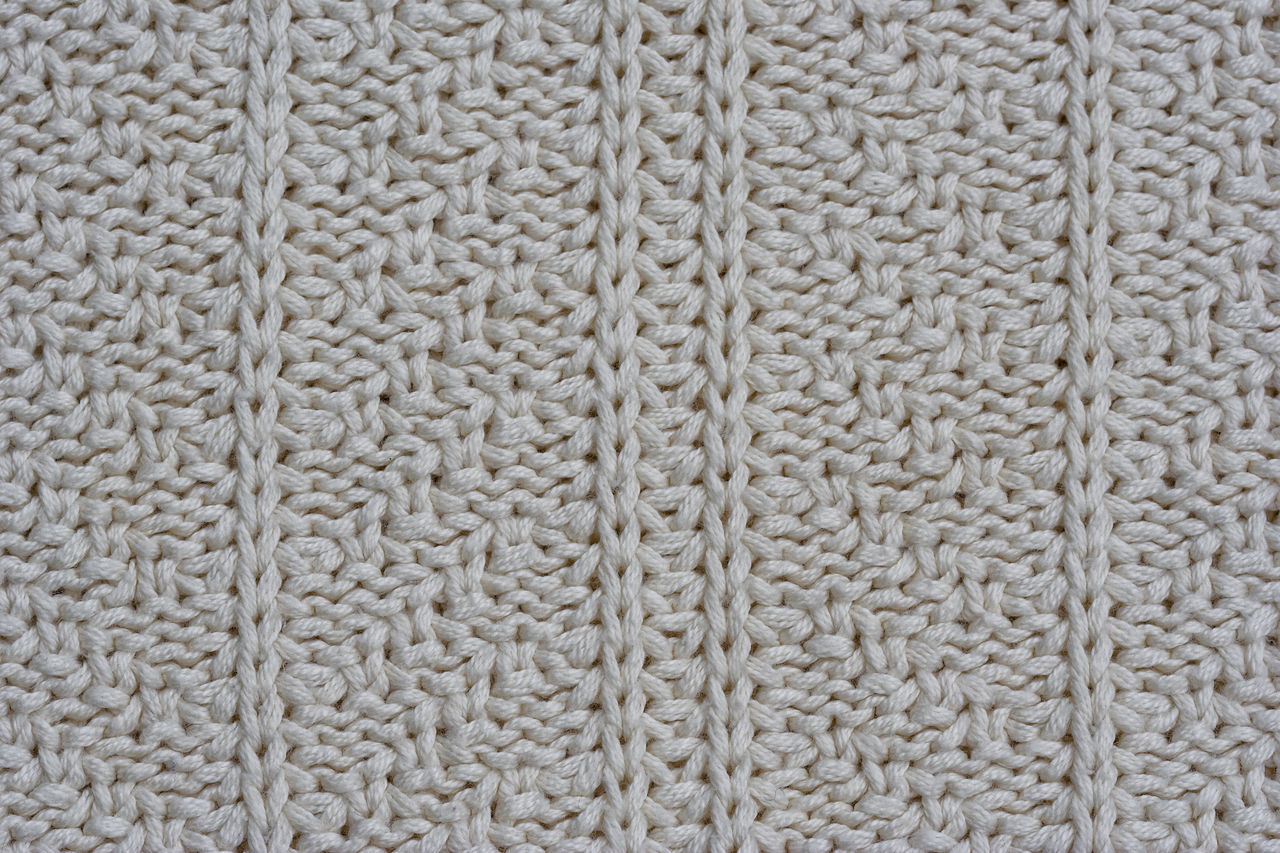Close-up of a woolen pattern - knitting pattern with purls and knits Backgrounds Close-up Fashion Full Frame Handmade Homemade Industry Knit Knitting Knitting Wear Knitwear Loop Pattern Relief Repetition Structure Sweater Symmetry Textile Texture Textured  Warm White Wool Woolen