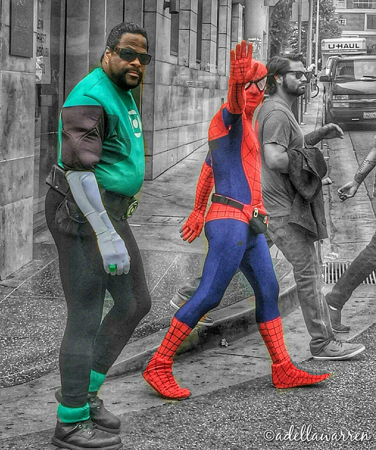 Hollywood Walk Of Fame Spiderman Spider-man Green Lantern  Superheroes California Hollywood Los Angeles, California
