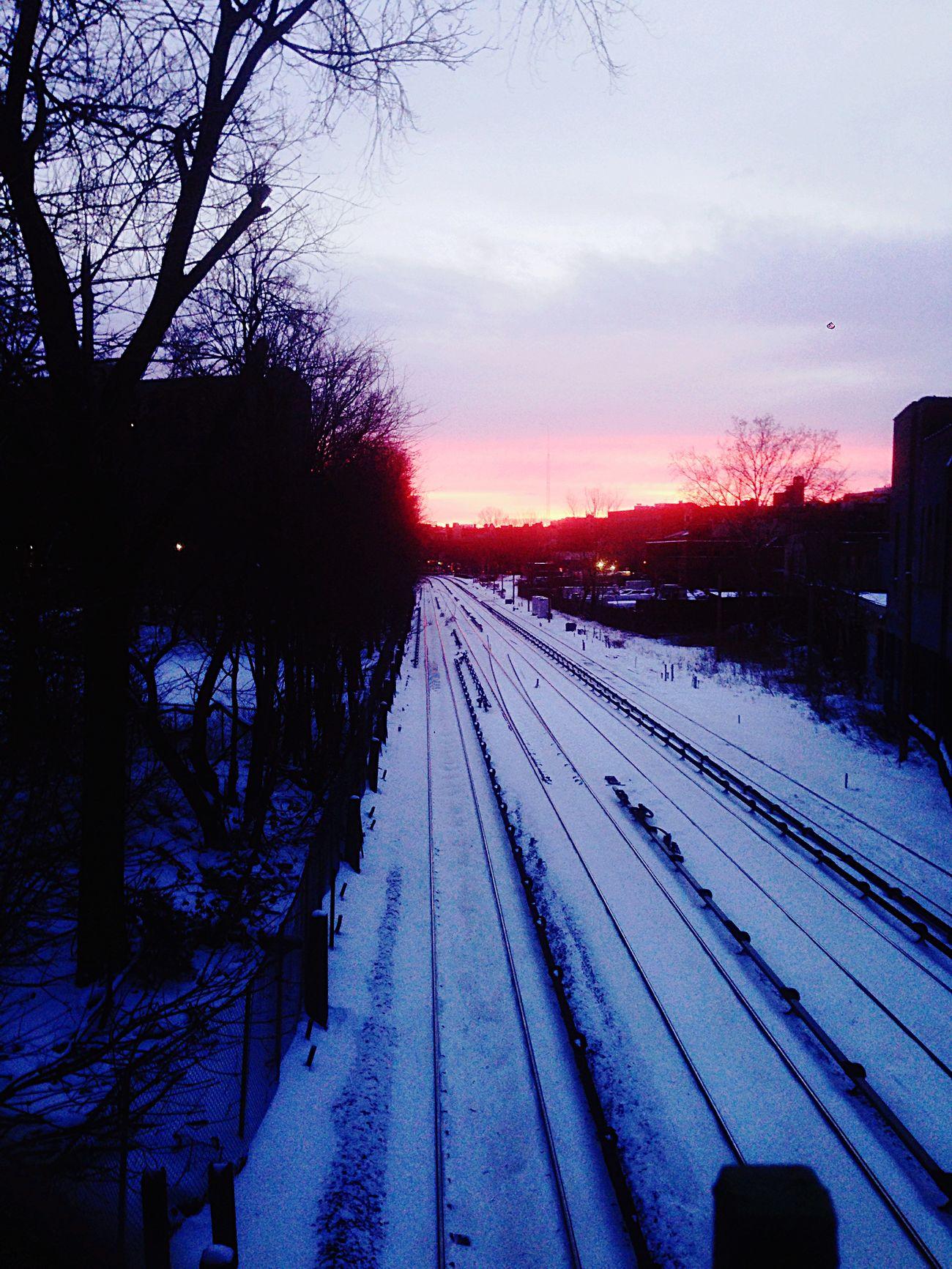 Snowy Sunset Beautiful Scenery