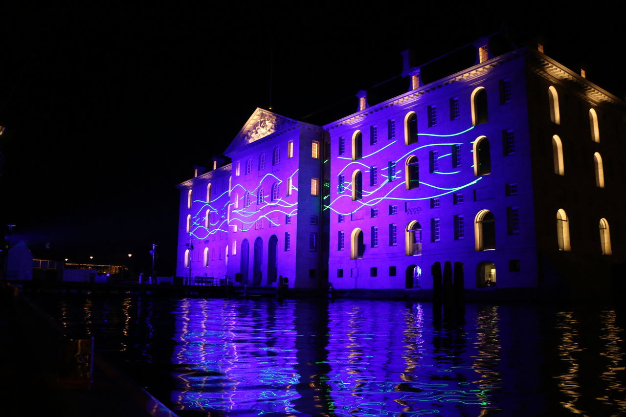 night, illuminated, building exterior, architecture, built structure, reflection, water, outdoors, no people, waterfront, sky