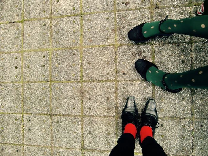 Concrete Fashion Fashion Floor Friends Girlfriends Girls Green Green Socks Green Stockings Human Body Part Outdoors Outside People Personal Perspective Red Red Socks Red Stockings Shoe Shoes Socks Together Women First Eyeem Photo