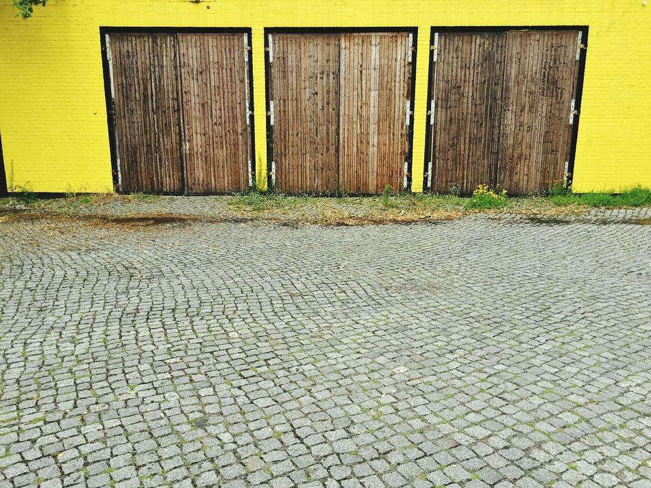 Architecture Garage Doors Yellow Wall Doors Wooden Doors Art Stone Ground
