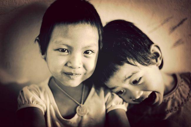 The children of the world. Portrait Black & White Children On The Road