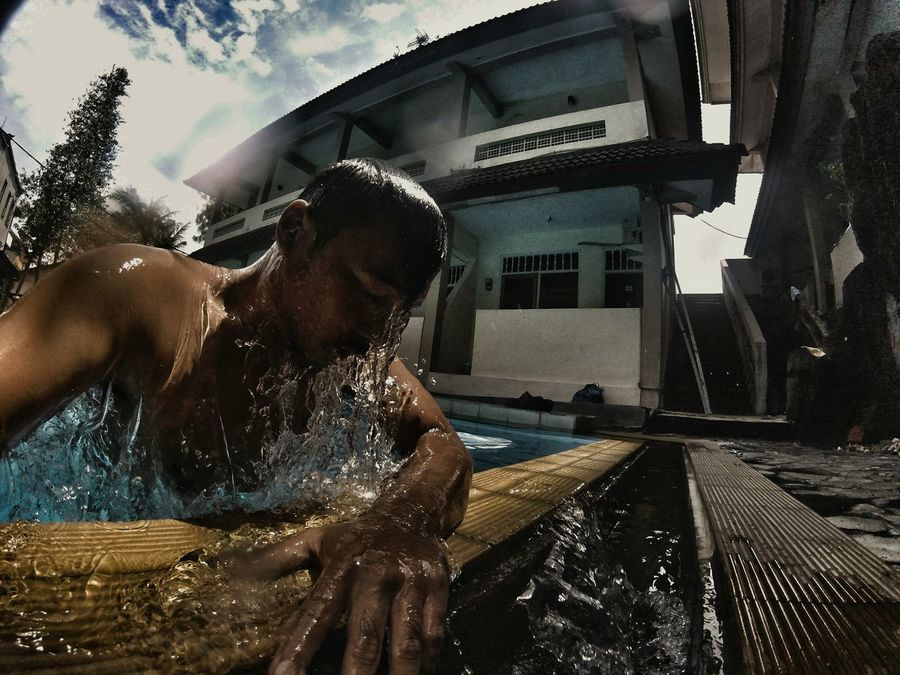 never give up 📷 gopro hero 4 session Adults Only One Person Adult Swimming Pool Young Adult Water Cloud - Sky Outdoors Men People Close-up Sad Sadness Emotional Photography Emotional Day One Man Only Only Men Sky