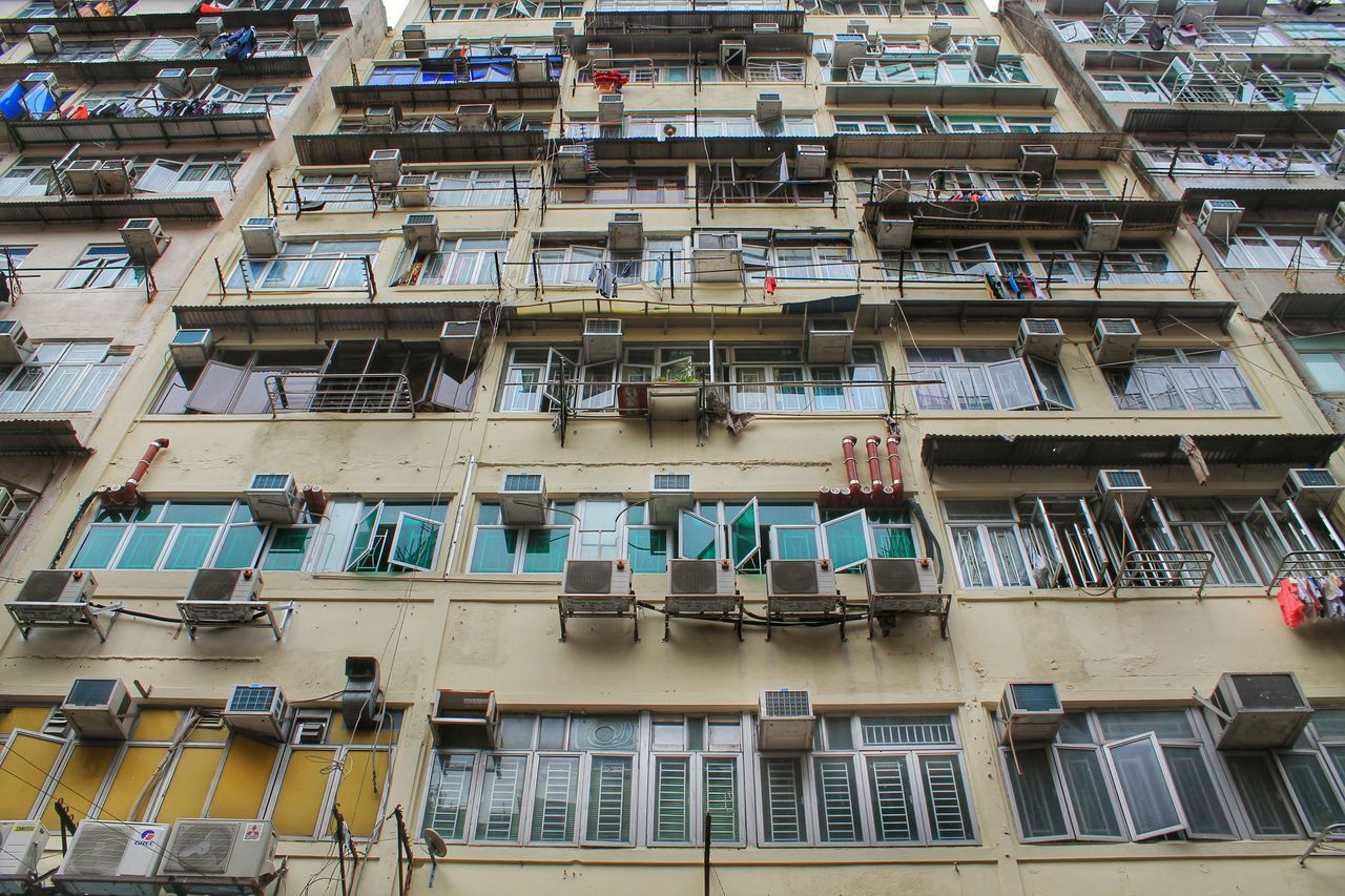Air Conditioner Air Conditioning Apartment Apartment Buildings Architecture Building Building Exterior Built Structure City City Life Crowded Full Frame Hong Kong Housing In A Row Kowloon KowloonCity Low Angle View No People Open Window Residential Structure Window
