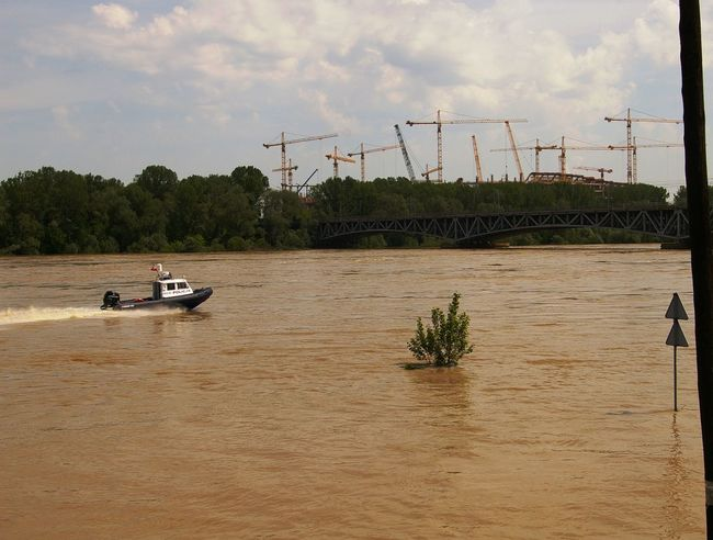 2010 Boat Bridge Construction Site Flood Police Police Boat Water