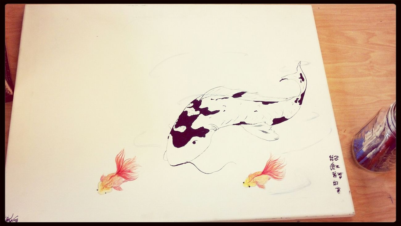 A painting I did today~ I love it, but feel like it needs a tad but more.. Should I add a thicker blue line on the water waves? Anyone have any advice? Art Watercolor Chinese Koi Carps