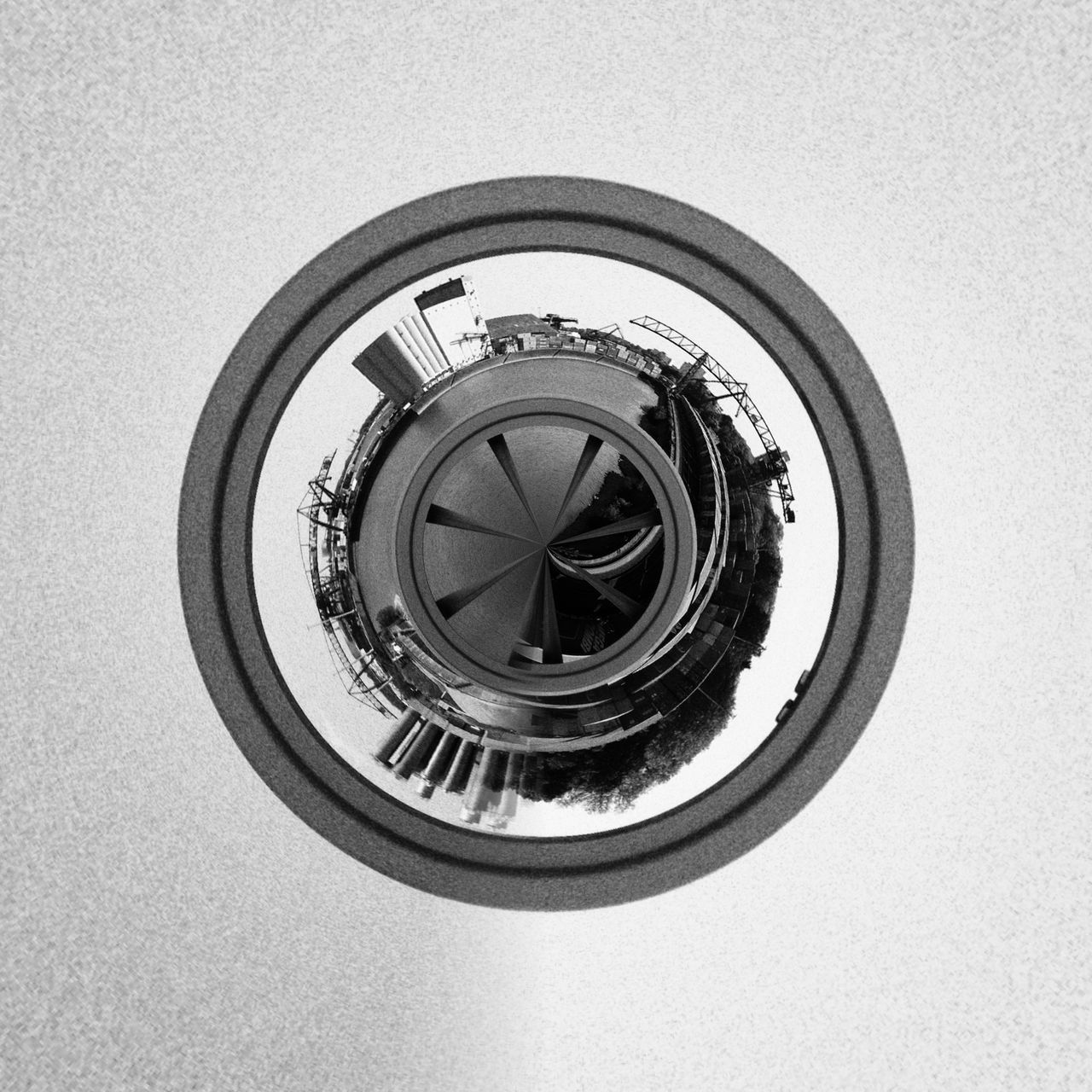 Hamburg Hafen B/w Circle Geometric Shape Germany Hamburg IPhone 4S IPhoneography Monochrome No People Quadratisch S/w Snapseed Square Tiny Planet Tinyplanets