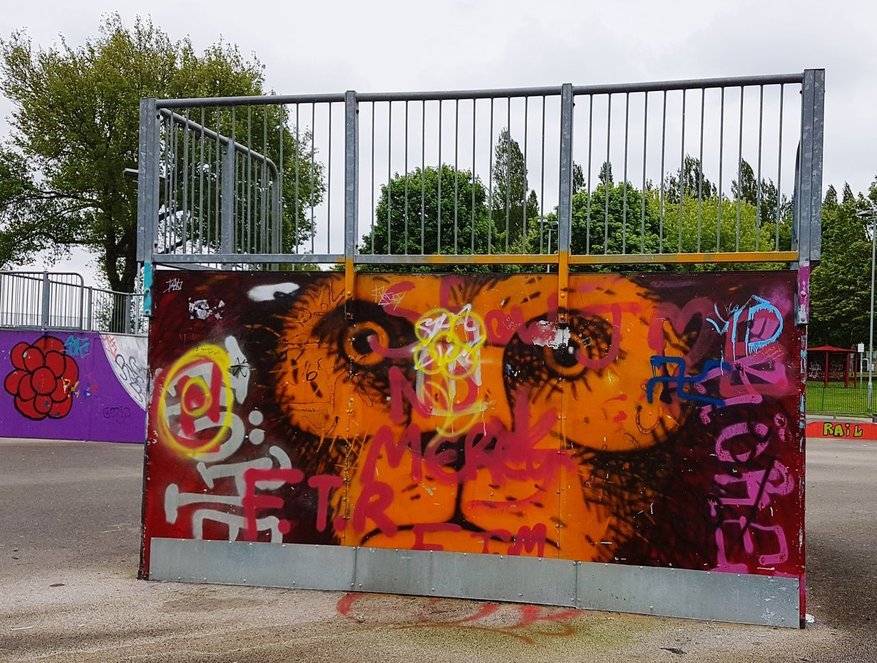 Street Art Art Around Us Graffiti Outdoors Art Is Everywhere Monkey Face Day No People Seeing The Things I See Appreciate The Little Things In Life Nature And Art Down At The Park Vandalism?