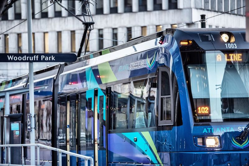 Leave your car keys at home today... Check This Out Atlanta Streetcar Public Transportation Urban Transportation Travel City Life Downtown Atlanta Photographyisthemuse City Cityscape Color Blue Sign Nikon D750 Tamron 70-200mm F/2.8 DiscoverATL Weloveatl Street Photography Atlantaurbanphotowalkers Ecofriendly Still Life