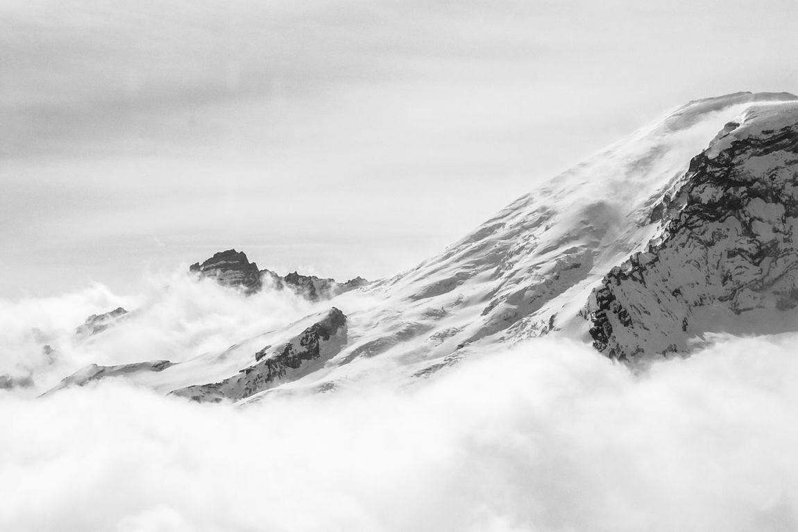 Mt. Rainier. Aerial Shot Aerial Photography Travel Photography Black & White Mt. Rainier Washington State Shades Of Grey Edge Of The World